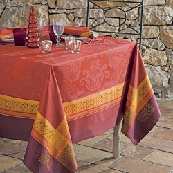 Isaphire Feu Tablecloth 100% Cotton, Green Sweet
