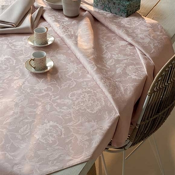 Mille Charmes Rose Tablecloth, 100% Cotton