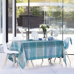 Mille Dentelles Turquoise Tablecloth , 100% Cotton Coated and Uncoated