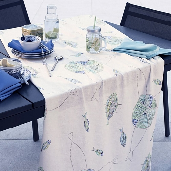 Mille Poissons Maree Table Runner Linen and Cotton