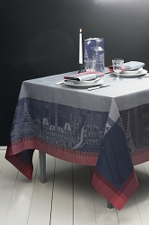 Parisienne Ardoise Tablecloth 100% Cotton, Green Sweet