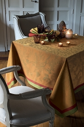 Plaisirs D Automne Roux Tablecloth , 100% Cotton, Green Sweet