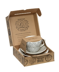 Dove Grey Calico Breakfast Cup Gift Set