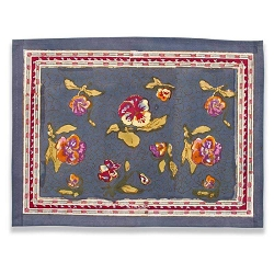 Pansy Placemats Red & Grey, Set of 6
