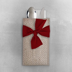 Red Ribbon set/8 Cutlery Holder