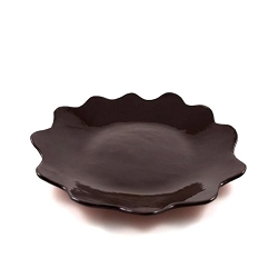 R Wood Scalloped Platter 14