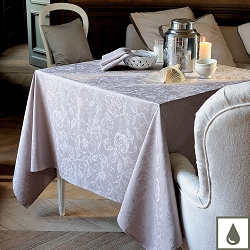 Mille Charmes Taupe Tablecloth, 100% Cotton