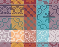 Mille Tiles Multicolore Placemat  Cotton  set/4