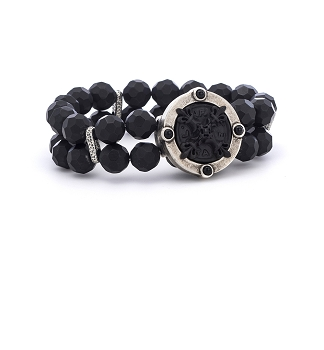 Double Strand Faceted Black Onyx and Black X Medallion