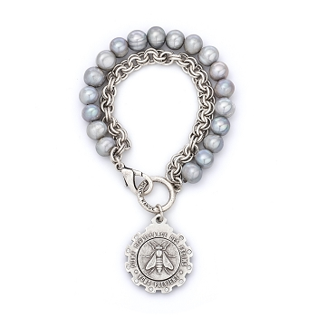 Double Stranded Chain and Silver Pearl with Mini Abeille Medallion