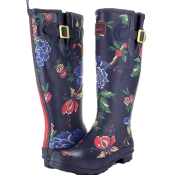 Joules Navy Floral Tall Wellies