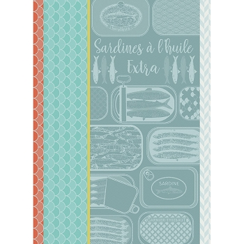 Sardines a l Huile Turquoise Kitchen Towel  22