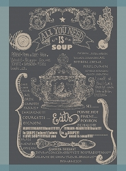 Soupiere Bleu Gris Kitchen Towel  22