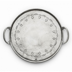 Vintage Pewter Round Tray With Handles