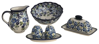 True Blue Polish Pottery 4 Pc Essentials Set