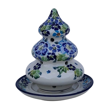 Polish Pottery True Blues Christmas Tree Candle Holder