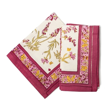 Papillon Rose Napkin set/6