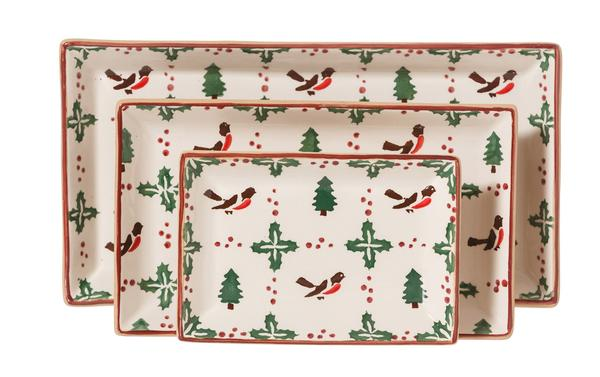 Winter Robin Rectangular Dish Set/3