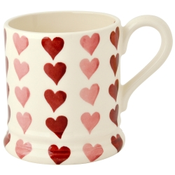 Pink Hearts Stacked 1/2 Pint Mug