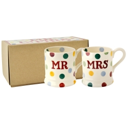 Polka Dot Mr and Mrs Set Of 2 1/2pt Mugs Boxed-End of January