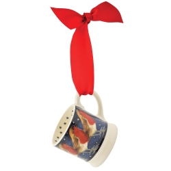 Robin in a Starry Night Tiny Mug Tree Decoration Boxed