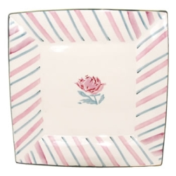Pink Peony Large Square Plate - RETIRED