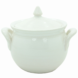Pichon Beaded Sugar Pot, White