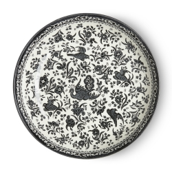 Black Regal Peacock Pasta Bowl