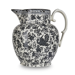Black Regal Peacock Etruscan Jug Large-allow extra delivery time