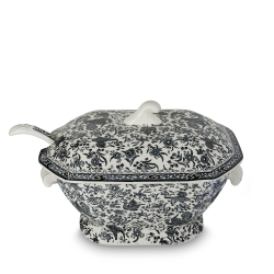 Black Regal Peacock Soup Tureen & Ladle