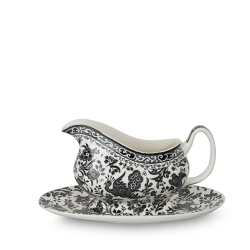 Black Regal Peacock Gravy Boat & Stand