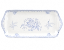 Blue Asiatic Pheasant Rectangular Tray Covered-on back order 8+ weeks