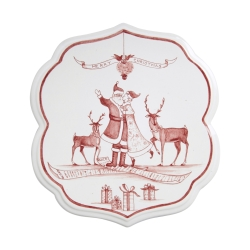 Country Estate Ruby Winter Frolic Ruby Trivet Under the Mistletoe
