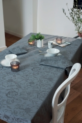 Mille Charmes Anthracite (Grey) Tablecloth , 100% Cotton.