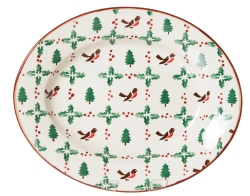 Winter Robin Small Oval Dish