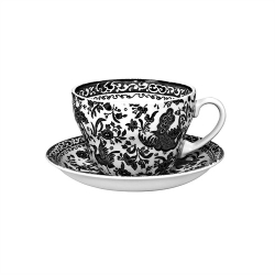Black Regal Peacock Breakfast Cup and Saucer