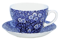 Blue Calico Teacup  and  Saucer