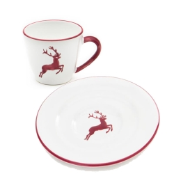 Bourdeaux Wine Red Deer Coffee Cup and Saucer