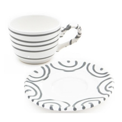 Dizzy Grey Classic Cup  and  Saucer