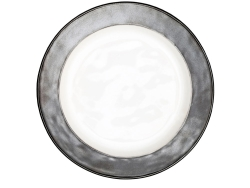 Emerson White and Pewter Dinner Plate