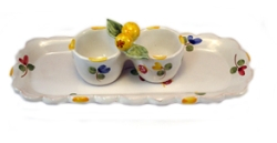 Faienceries d'Art de Malicorne Mille Fleurs Salt  and  Pepper Cups (plate sold separate)