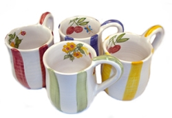 Faienceries d'Art de Malicorne Mille Fleurs Striped Mugs