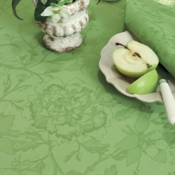 Mille Charmes Vert Tablecloth, 100% Cotton