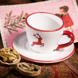 Ruby Red Deer Gourmet Coffee Cup and Saucer