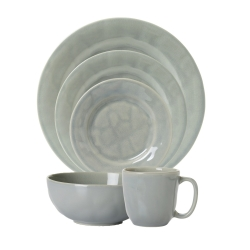 Puro Mist Grey Crackle 5pc Place Setting (Dinner, Dessert, Side, Cereal, Cofftea )