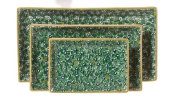 Green Lawn Rectangular Dish Set/3