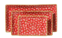 Red Lawn Rectangular Dish Set/3