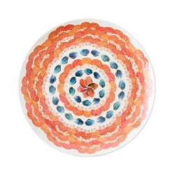 Al Fresco Oceanica Melamine Multi/White Dinner Plate-Retiring