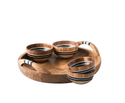 Stonewood Stripe 5 Piece Appetizer Set Tray & 4 Bowls