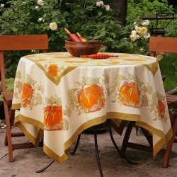 Couleur Nature Pumpkin Orange Tablecloth 71
